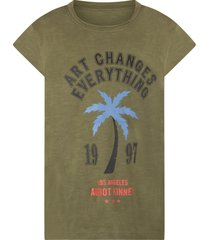 zadig & voltaire green girl t-shirt with writing and palm tree