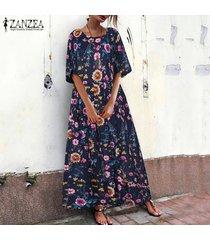 zanzea vestido estampado floral para mujer vestido camisero vestido largo vestido midi vestido largo tallas grandes -azul marino