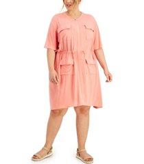 alfani plus size drawstring-waist dress, created for macy's