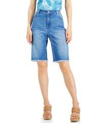 inc frayed denim bermuda shorts, created for macy's