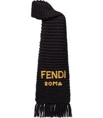 fendi logo-embroidered chunky-knit scarf - black