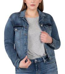silver jeans co. trendy plus size notched crop denim jacket