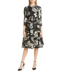 women's lela rose metallic jacquard midi dress, size 18 (similar to 14w) - black