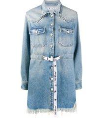 off-white frayed industrial belted denim dress - blue