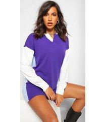 colour block rugby trui jurk, purple