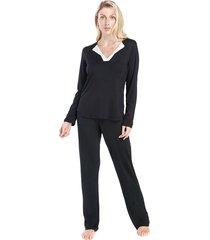pijama feminino de inverno preto com cetim off white - tricae