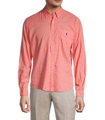 ralph lauren men's classic cotton button front shirt - beach coral - size s