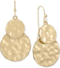 style & co gold-tone double hammered disc drop earrings, created for macy's