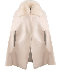 made for generation fox fur collar cashmere & wool cape