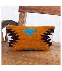 zapotec wool clutch handbag, 'autumn sunrise' (mexico)