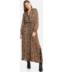 alix the label 204320619 ladies woven animal crepe long dress bruin