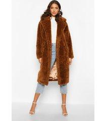 tall faux fur teddy jas, tabak