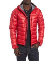 men's canada goose 'hybridge(tm) lite hoody' slim fit packable jacket, size medium - red