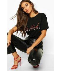 couture t-shirt met slogan, zwart