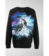 balmain husky logo-print sweatshirt