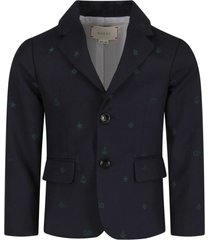 gucci blue jacket for boy with green double gg