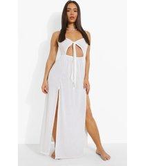jersey maxi strand jurk met strik en uitsnijding, white