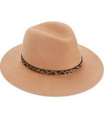 leopard-print faux calf hair-trim wool fedora