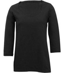 shirt met ronde hals voor haar, zwart 46