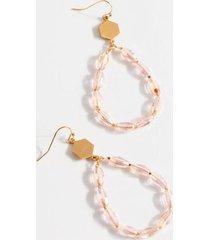 paula beaded drop earrings - pale pink