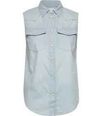 sleeveless shirt overhemd met korte mouwen blauw lee jeans