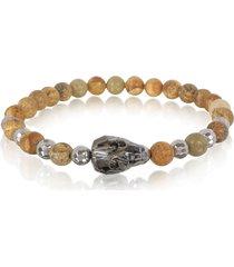 blackbourne designer men's bracelets, rock irregular stone men's bracelet w/gunmetal swarovski crystal skull