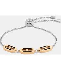tommy hilfiger women's flag two-tone bracelet silver/carnation gold -