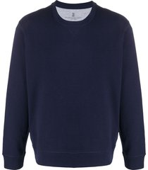 brunello cucinelli crew neck relaxed fit sweater - blue