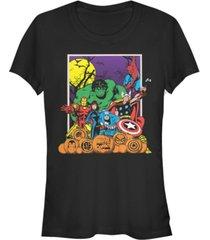 fifth sun marvel women's heroes pumpkin patch classic retro short sleeve tee shirt