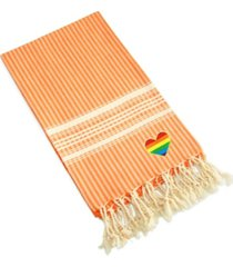 linum home luxe herringbone cheerful rainbow heart pestemal beach towel bedding