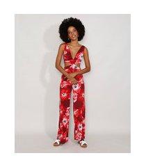 macacão feminino pantalona estampado floral com vazado alça larga vermelho escuro