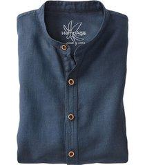 heren-overhemd uit een mix van hennep/bio-katoen, nachtblauw s