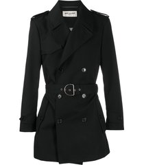 saint laurent belted short trench coat - black