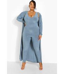 plus jumpsuit met laag decolleté en duster jas set, slate blue