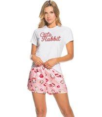 pijama short satín y camiseta dama santo corazón