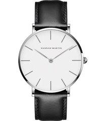 reloj hombres lujo delgado cuarzo hannah martin negro blanco