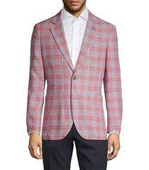 plaid linen & cotton blend blazer