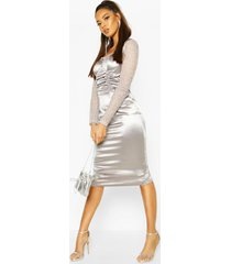 stretch satin cupped rouched midi dress, silver