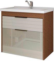 gabinete suspenso para banheiro azaléia 56x59cm amêndoa e off white