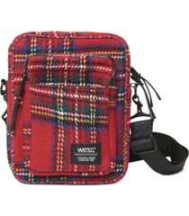 wesc men's tartan crossbody bag
