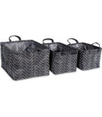 design imports polyethylene coated woven paper laundry bin tribal chevron rectangle set of 3