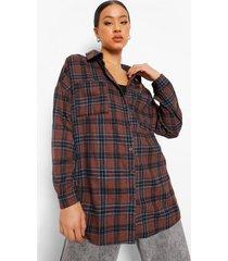 oversized geruite blouse met rugopdruk, brown