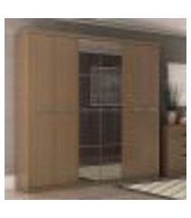 roupeiro 6 portas 2 gavetas e espelho s359 kappesberg - texturizado nature