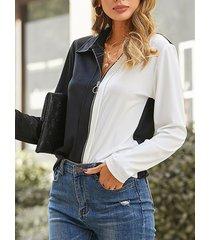 camicetta casual da donna con collo a bavero frontale con zip patchwork
