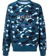 a bathing ape® 13 ape print camouflage sweatshirt - blue