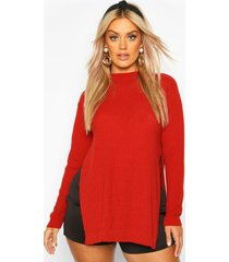 plus side split moss stitch sweater, rust