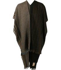 ziggy chen long cape scarf - brown