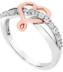 women's created white sapphire (1/3 ct.t.w) 14k rose gold plated heart ring in sterling silver