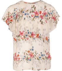 multicoloured silk frilled floral print blouse
