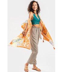 annely scarf print tassel kimono - orange